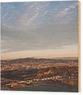 Barcelona On Sunrise. Aerial View Wood Print