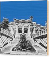 Barcelona Skyline Park Guell - Blue Wood Print