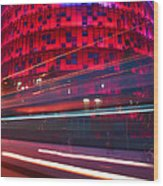 Barcelona's Agbar Tower With Touristic Bus Wood Print