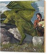 Bard And Dragon Wood Print by Daniel Eskridge