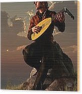 Bard With Lute Wood Print