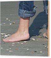 Barefoot On The Beach Wood Print