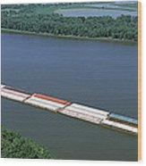 Barge In A River, Mississippi River Wood Print