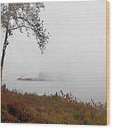 Barge In Fog On Ohio River Wood Print