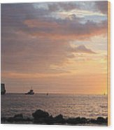 Barge Into The Sunset Wood Print