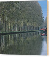 Barge On Burgandy Canal Wood Print