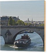 Barge On River Seine Wood Print