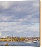 Barges On River Rhine At Duisburg Germany Europe Wood Print