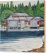 Barkhouse Boatshed Wood Print
