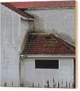 Barn - Geometry - Red Roof Wood Print
