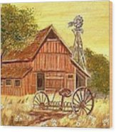 Barn  -  Windmill  -  Old Rake Wood Print