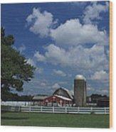 Farm Along The River Wood Print