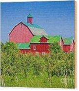 Barn And Apple Orchard Wood Print