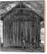 Barn And Bikes Wood Print by Paulette Maffucci