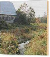 Barn and Brook Wood Print