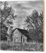 Barn And Clouds Wood Print