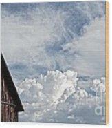 Barn And Clouds Wood Print