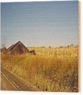 Barn And Corn Field Wood Print