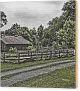Barn And Corral Wood Print by Guy Shultz