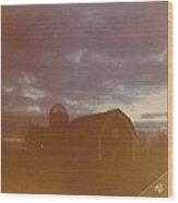 Barn And Fall Sky Wood Print