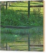 Barn And Fence Wood Print
