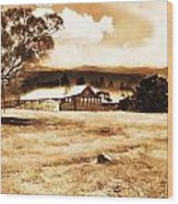 Barn And Field Wood Print