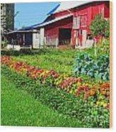 Barn And Garden Wood Print