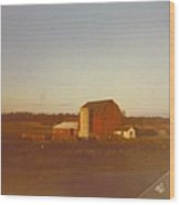 Barn And Land Scape Wood Print