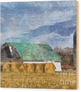 Barn And Silo In West Virginia Wood Print