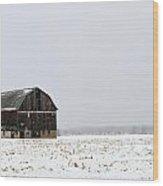 Barn And Snow Wood Print