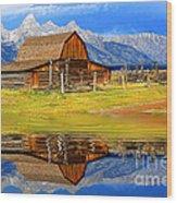 Barn And Teton Reflections. Wood Print