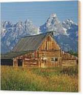1m9394-barn And The Tetons Wood Print