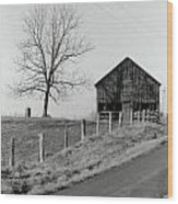 Barn And Tree Wood Print