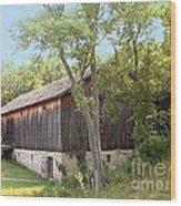 Barn At Adena Wood Print