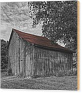 Barn At Avenel Plantation - Red Roof Wood Print by Steve Hurt