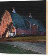 Barn At Night Wood Print