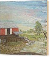 Barn Beside Cooks Creek Wood Print