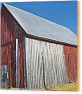 Barn By Side Of Road Wood Print