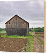 Barn By The Road Square Wood Print