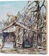 Barn By The Tree Wood Print