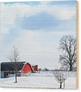 Barn Covered With Snow Wood Print by Tina M Wenger