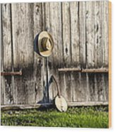 Barn Door And Banjo Mandolin Wood Print by Bill Cannon
