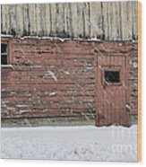 Barn Door In Winter Wood Print