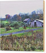 Barn - End Of The Road Wood Print