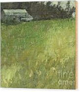 Barn Fence And Field Wood Print