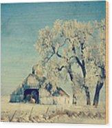 Barn Frosty Trees Wood Print by Julie Hamilton