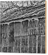 Barn Ghost Sign In Bw Wood Print