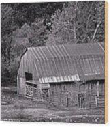 Barn In Black And White Wood Print by Edward Hamilton