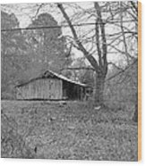 Barn In Black Wood Print