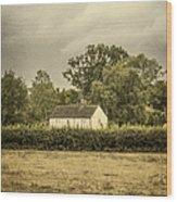Barn In Corn Field Wood Print